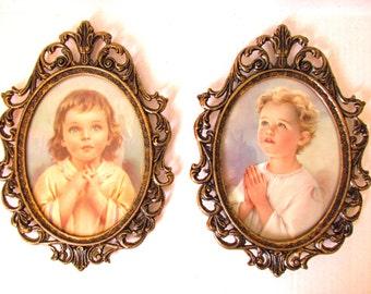 Praying Children, Ornate Oval Vintage Frame, Boy Girl Saying Prayers, Nursery Child's  Room Religious Christian Catholic Art, Prayer Hands