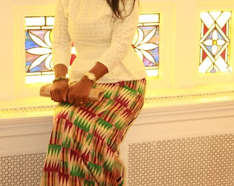 Creme Lace Top, African Fabric, Ready To Ship,Kente Print, African print fabric