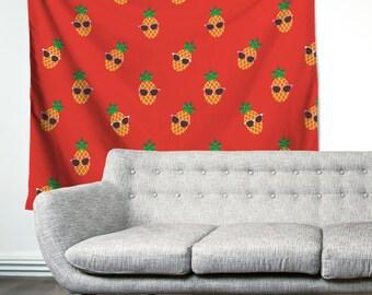 Sunny Pineapples Sunglasses Unique Dorm Home Decor Wall Art Tapestry