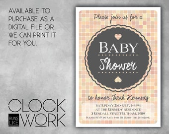 Baby Shower, Invitations, Party, Printed or Digital File Available, Pastel Squares