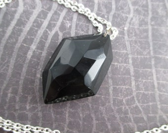 Geometric Avant Garde Black Silver Crystal Stone Art Deco Simple Necklace
