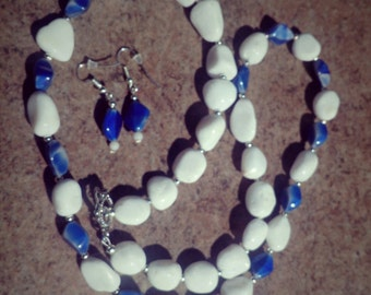 White and Blue Necklace and Earrings