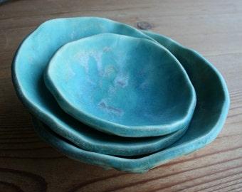Deep Turquoise Set of 3 Nesting Bowls, Ceramic Bowls, Tableware, Handmade by Tagliaferro Ceramics