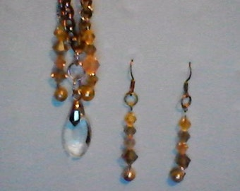 Simple, Unique Necklace and Earring Set! Pendant and Earrings! Dangling Jewelry!