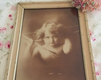 "Vintage Framed ""Cupid Awake"" Photo by M B Parkinson - 1897"