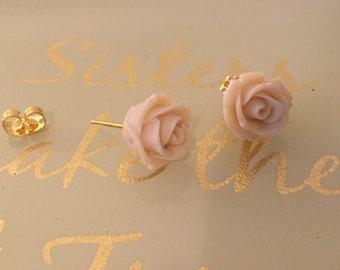 Rose Studs (cream & gold)