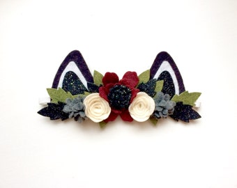 Mini Felt Cat Kitten Ear headband - Ruby red, ivory and smoke gray flowers - black glitter and green leaves