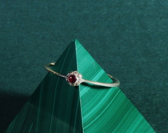 Stocking Ring - Gold Stocking Ring - 14K White Gold Stocking Ring -  Thin White Gold Ring - Ruby - Small Ruby - Diamonds