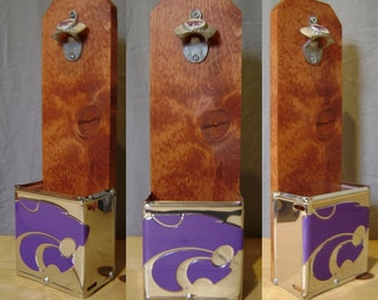 Kansas State University Wildcats Wall Mounted Bottle Opener & License Plate Cap Collection Box