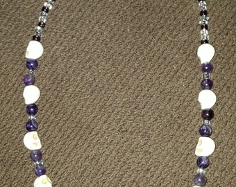 Skull and Amethyst Necklace W/Pentacle Charm