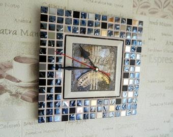 "Coffee clock - mosaic coffee clock ""Coffee in Disco"" - Coffee wall decor - Coffee wall art - Coffee decor - Mosaic art"