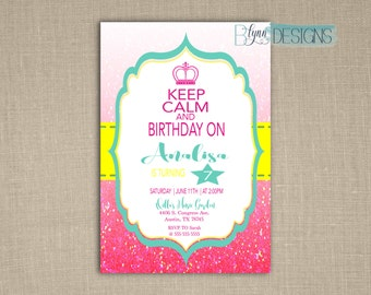 Keep Calm & Carry On Birthday Invitation