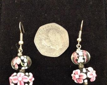 Pair of handmade flowery earrings