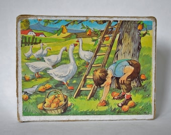 Vintage Children's Puzzle Brick Game - various animal scenes 1960's, picture puzzle