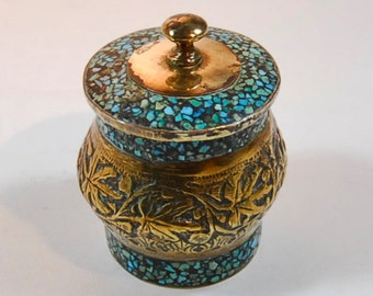 Unusual Vintage Brass and Turquoise Small Lidded Pot/Container -tribal, Indian,Zen