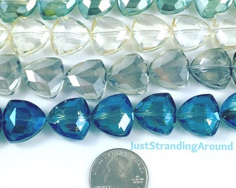 Faceted Triangle Crystal Glass Bead 17x18mm, Jewelry Making Supplies, Shipped from USA