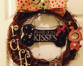 Dog wreath, pet wreath, picture frame wreath