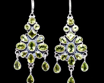 Peridot earrings,Chandelier earrings,Peridot Leverback earrings, Peridot Chandelier earrings, Handmade  earrings, Sterling Silver earrings