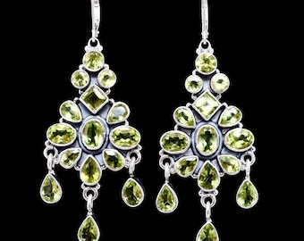 Peridot earrings, Chandelier earrings, Silver Peridot earrings, Peridot Chandelier earrings, Handmade  earrings, Sterling Silver earrings
