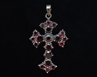 X-Large Garnet cross,Victorian cross,Black Silver cross,Handmade cross,Large silver garnet cross,Sterling Silver cross.