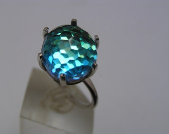 Vintage AB Crystal Glass Ring.  Adjustable size