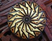 Star Mandala Magnet - Wood Burned Magnet, Pyrography Art, Bohemian Mandala, Sacred Geometry Mandala, Wood Magnet