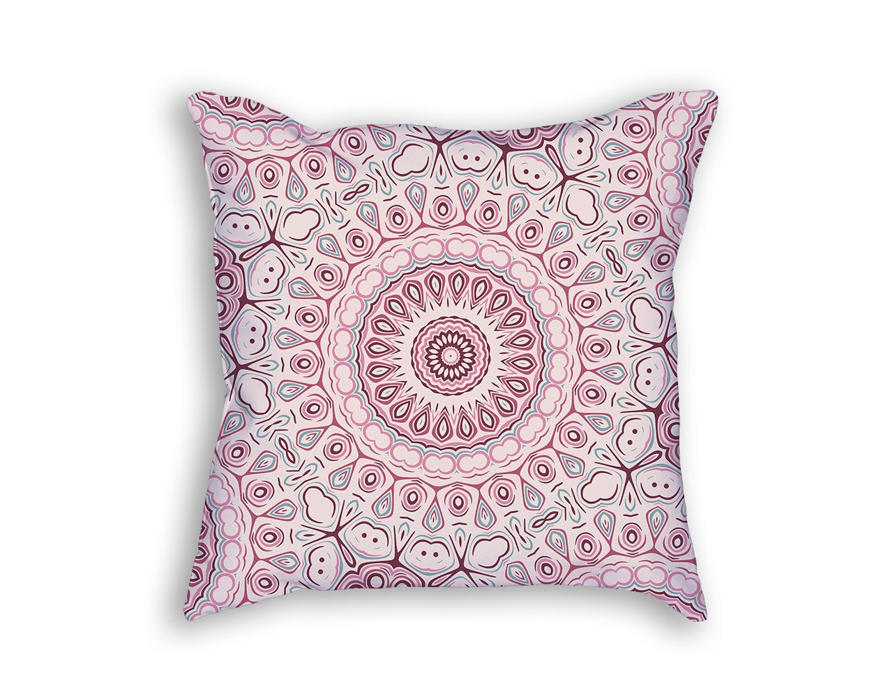 Dusty Rose Inspired Mandala Throw Pillow by ColorlightPrintables