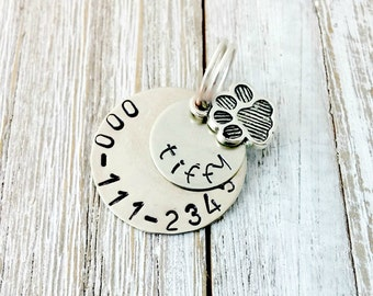Dog Tag, Custom Made,  Silver, Hand stamped, Dog Charm