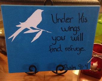 Bird, Bible Verse Canvas Painting