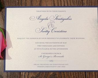 Navy Blue Wedding Invitation, Black and White Invitation, navy Blue Invitation, navy wedding invitation, blue wedding invitations, handmade