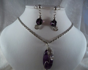 Amethyst and Sterling Silver Set