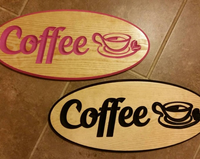 Engraved Wood Coffee Sign