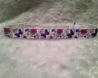 Purple Butterflies and Flowers Non-Slip Adjustable Headband