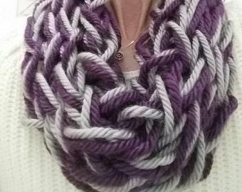 Scarf Cowl Purple Grey Arm Knit