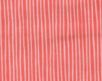 Cotton Double Gauze Fabric in Pink and White Stripes Sold by the Half Yard or Yard
