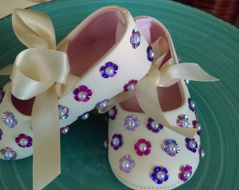 Size 3 embellished infant ballerina shoes