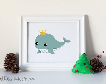 Cute Whale prince of the sea print for nursery or children decor