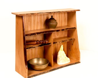 Live Edge Pecky Pecan Display Shelf or Altar Piece. Can be used to display keepsakes, collectibles, altar or meditation items.