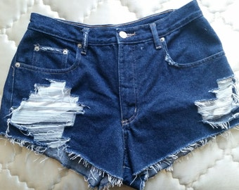 Distressed Denim High Waisted Shorts