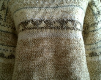 Wool jacquard hand-knitted sweater, size Medium 42
