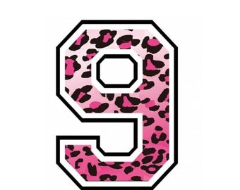 Iron on number 9 Pink Cheetah for Tshirt iron on transfer, instant download