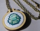 Minecraft Diamond Cross Stitch Necklace