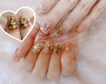 Jesus love you nails> sweet nails,kawaii nails ,nail art ,nail 3d ,fake nails,acrylic nails,deco,jesus,mold nails
