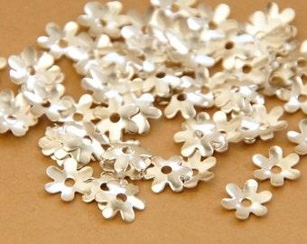 50 x bead caps 6.5 mm silver