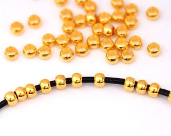 20 x Module beads for ribbons 3 mm/gold color