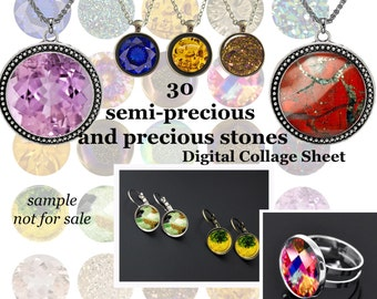 Gemstones Digital Collage Sheet Semi-precious and precious stones Collage Sheet for Glass Dome Pendants cabochon clipart Magnets