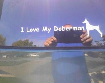 I Love My Doberman Car Decal