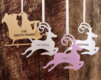 Personalised Reindeer Or Sleigh Christmas Decoration