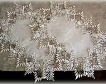 """17' x 12"""" SET Of TWO  Rectangular Doily Neutral Earth Tones European Lace Place Mat /  Dresser Scarf"""