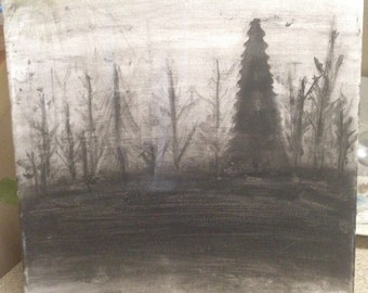 Foggy Trees Painting in White